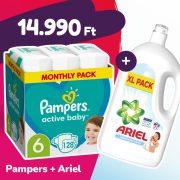 Pampers Active Baby pelenka, Junior 6, 13-18 kg, 128 db + Ariel Sensitive mosógél
