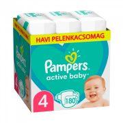 Pampers Active Baby pelenka, Maxi 4, 9-14 kg, HAVI PELENKACSOMAG 180 db + AJÁNDÉK Pampers Pure kókuszos törlőkendő 42 db