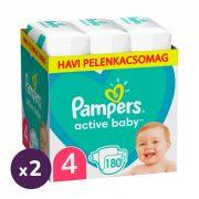 Pampers Active Baby pelenka, Maxi 4, 9-14 kg, 1+1, 360 db + AJÁNDÉK Pampers Pure kókuszos törlőkendő 2x42 db