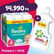 Pampers Active Baby pelenka, Maxi 4, 9-14 kg, 180 db + Ariel Sensitive mosógél