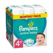 Pampers Active Baby pelenka, Maxi+ 4+, 10-15 kg, HAVI PELENKACSOMAG 164 db + AJÁNDÉK Pampers Pure kókuszos törlőkendő 42 db