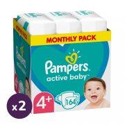Pampers Active Baby pelenka, Maxi+ 4+, 10-15 kg, 1+1, 328 db + AJÁNDÉK Pampers Pure kókuszos törlőkendő 2x42 db