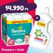 Pampers Active Baby pelenka, Maxi+ 4+, 10-15 kg, 164 db + Ariel Sensitive mosógél