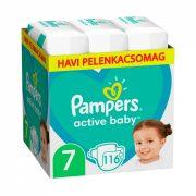 Pampers Active Baby pelenka, XL 7, 15 kg+, HAVI PELENKACSOMAG 116 db + AJÁNDÉK Pampers Pure kókuszos törlőkendő 42 db
