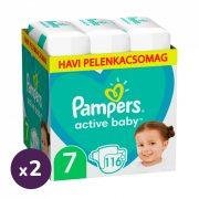 Pampers Active Baby pelenka, XL 7, 15 kg+, 1+1, 232 db + AJÁNDÉK Pampers Pure kókuszos törlőkendő 2x42 db