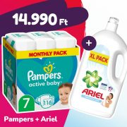 Pampers Active Baby pelenka, XL 7, 15 kg+, 116 db + Ariel Sensitive mosógél