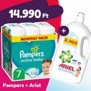 Pampers Active Baby pelenka, XL 7, 15 kg+, 116 db + Ariel Sensitive mosógél
