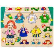 Fa fogantyús öltöztető puzzle kislánnyal
