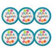 Léggömbös jamboree parti tányér Boldog Szülinapot! felirattal - 23 cm (6 db)