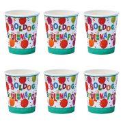Léggömbös jamboree parti pohár Boldog szülinapot! felirattal - 250 ml (6 db)