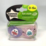 Tommee Tippee Közelebb a Természeteshez Fun játszócumi 0-6 hó 2 db (lila, rózsaszín)