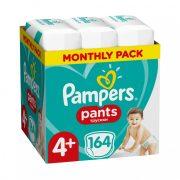 Pampers Pants bugyipelenka, Maxi+ 4+, 9-15 kg, HAVI PELENKACSOMAG 164 db + AJÁNDÉK Pampers Pure kókuszos törlőkendő 42 db