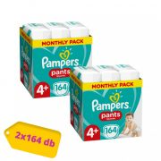 Pampers Pants bugyipelenka, Maxi+ 4+, 9-15 kg, 1+1, 328 db + AJÁNDÉK Pampers Pure kókuszos törlőkendő 2x42 db