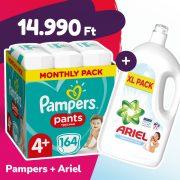 Pampers Pants bugyipelenka, Maxi+ 4+, 9-15 kg, 164 db + Ariel Sensitive mosógél