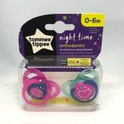Tommee Tippee Közelebb a Természeteshez Night játszócumi 0-6 hó 2 db (rózsaszín, kék) - bolygó, szív
