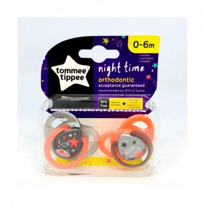 Tommee Tippee Közelebb a természeteshez Night játszócumi 0-6 hó 2 db (szürke, narancssárga) - csillag, bolygó