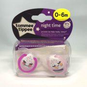 Tommee Tippee Közelebb a természeteshez Night játszócumi 0-6 hó 2 db (fehér, rózsaszín) - mosolygó, alvó