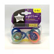 Tommee Tippee Közelebb a természeteshez Night játszócumi 0-6 hó 2 db (kék) - bolygó, űrhajó