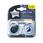Tommee Tippee Közelebb a természeteshez Night játszócumi 0-6 hó 2 db (kék) - bálnák, hullám