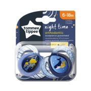 Tommee Tippee Közelebb a természeteshez Night játszócumi 6-18 hó 2 db (kék, sötétkék) - medúza, bálna