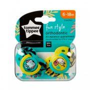 Tommee Tippee Közelebb a természeteshez Fun Style játszócumi 6-18 hó 2 db (türkiz-sárga, elefánt-madár)