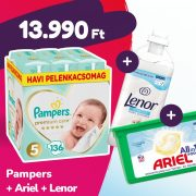 Pampers Premium Care pelenka, Junior 5, 11-16 kg, 136 db + Ariel mosókapszula + Lenor öblítő