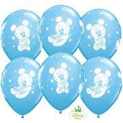 Kék Baby Mickey egeres lufi - 28 cm (6 db)