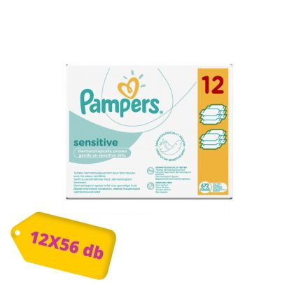 Pampers Sensitive kupakos törlőkendő 12x56 db