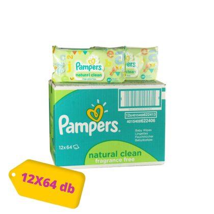 Pampers Natural Clean kupakos törlőkendő 12x64 db