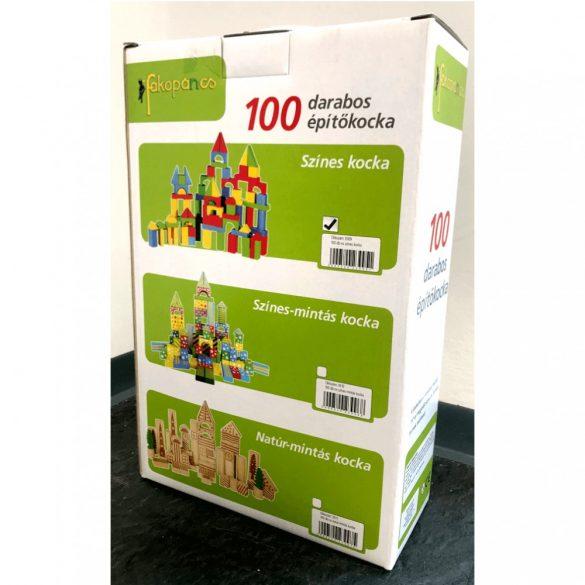 Fa 100 darabos színes építőkocka szett