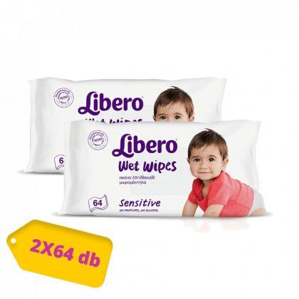 Libero Sensitive törlőkendő 2x64 db