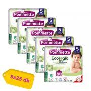 Pommette Ecologic 50%-ban lebomló öko pelenka, Junior 5, 11-25 kg, 5x25 db