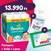 Pampers Active Baby pelenka, Midi 3, 6-10 kg, 208 db + Ariel mosókapszula + Lenor öblítő
