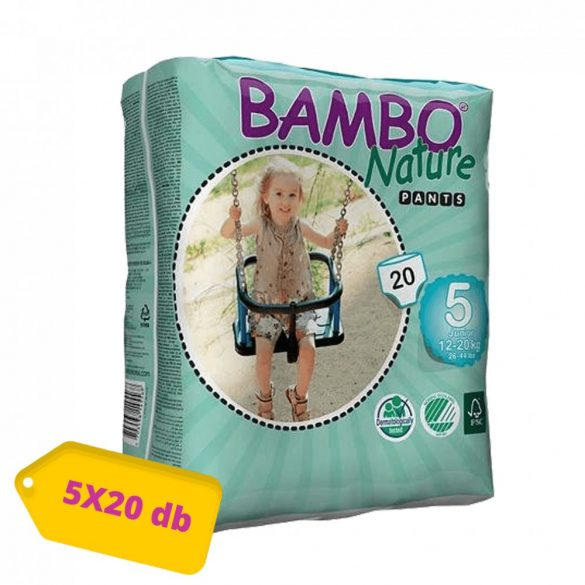 MEGSZŰNT - Bambo Nature öko bugyipelenka, Junior 5, 12-20 kg, HAVI PELENKACSOMAG 5x20 db