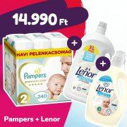 Pampers Premium Care pelenka, Mini 2, 4-8 kg, 240 db + Lenor mosógél + öblítő