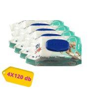Aquella Prémium kupakos nedves törlőkendő csomag 4x120 db