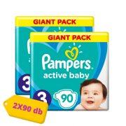 Pampers Active Baby pelenka, Midi 3, 6-10 kg, HAVI PELENKACSOMAG 2x90 db