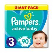 CSOMAGOLÁSSÉRÜLT - Pampers Active Baby pelenka, Midi 3, 6-10 kg, 90 db