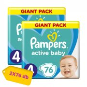 Pampers Active Baby pelenka, Maxi 4, 9-14 kg, HAVI PELENKACSOMAG 2x76 db