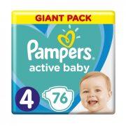 CSOMAGOLÁSSÉRÜLT - Pampers Active Baby pelenka, Maxi 4, 9-14 kg, 76 db
