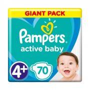 Pampers Active Baby pelenka, Maxi+ 4+, 10-15 kg, 70 db-os