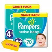 Pampers Active Baby pelenka, Maxi+ 4+, 10-15 kg, HAVI PELENKACSOMAG 2x70 db