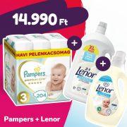 Pampers Premium Care pelenka, Midi 3, 6-10 kg, 204 db + Lenor mosógél + öblítő