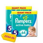 Pampers Active Baby Junior 5, 11-18 kg HAVI PELENKACSOMAG 2x64 db