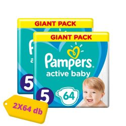 Pampers Active Baby Junior 5, 11-18 kg HAVI PELENKACSOMAG 2x64 db