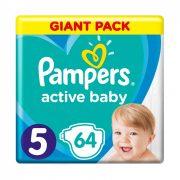 CSOMAGOLÁSSÉRÜLT - Pampers Active Baby pelenka, Junior 5, 11-16 kg, 64 db