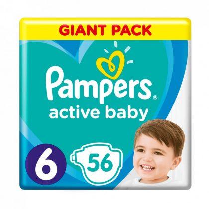 Pampers Active Baby pelenka, Junior 6, 13-18 kg, 56 db