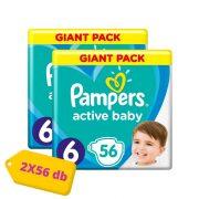 Pampers Active Baby Junior 6, 13-18 kg HAVI PELENKACSOMAG 2x56 db