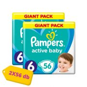 Pampers Active Baby pelenka, Junior 6, 13-18 kg, HAVI PELENKACSOMAG 2x56 db