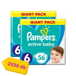 Pampers Active Baby Junior 6, 13-18 kg HAVI PELENKACSOMAG 2x56 db